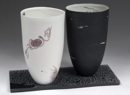 """Microscopy Vessel Pair Black and White 2 (front), 10""""H x 6""""W x 6""""D each"""