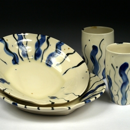 Deep Porcelain Plates and Tumblers