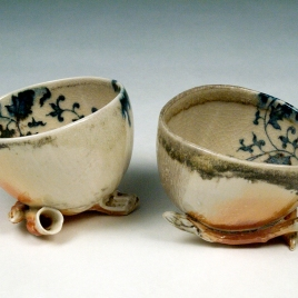 Woodfired Blue and White Cups