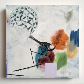 "Balance Beam, acrylic on birch, 16""x16"""