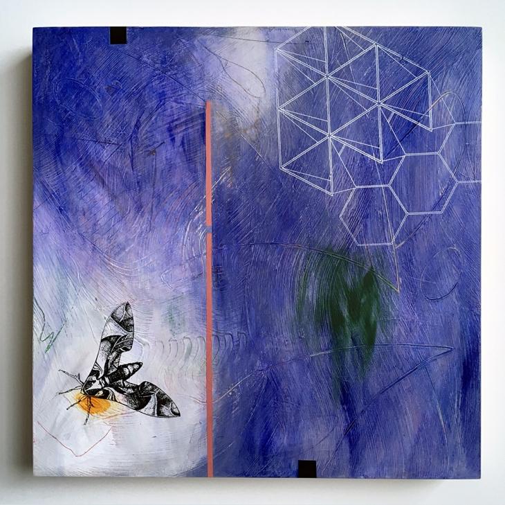 "Frail Borderline, acrylic on birch, 16""x16"""