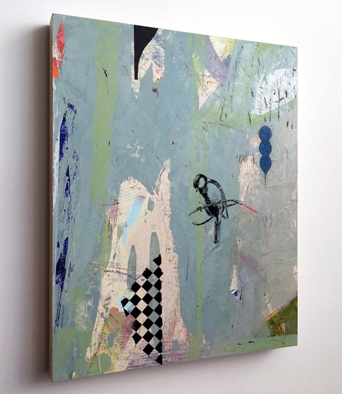 "Little Partner, side view, acrylic on birch, 16""x20"""