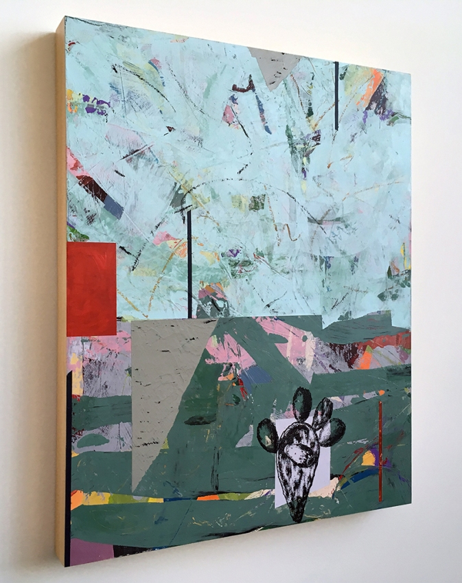 "Loner, side view, acrylic on birch, 16""x20"""