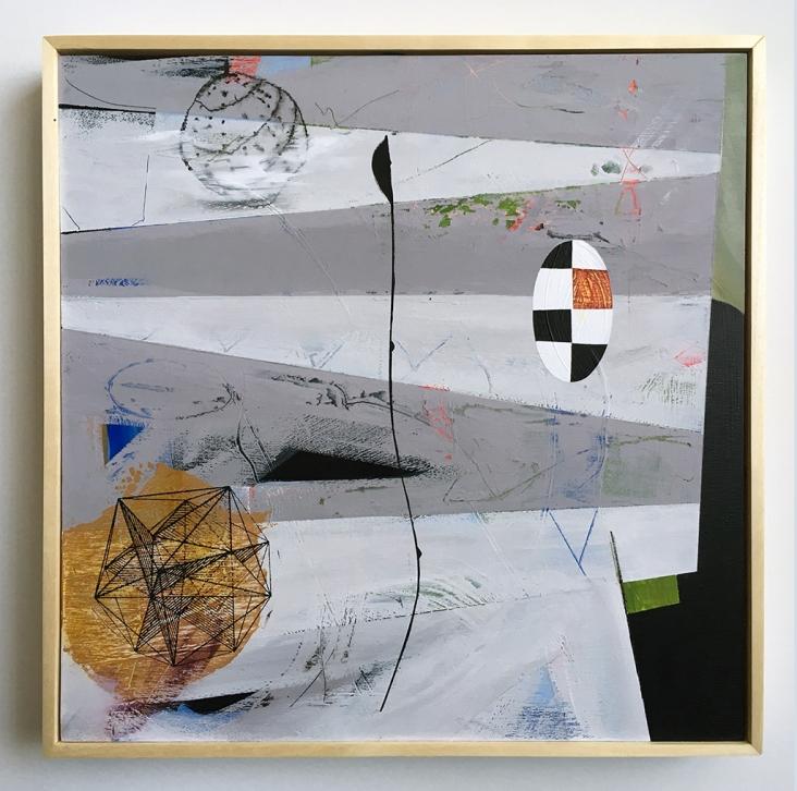 "Periscope, acrylic on birch, 12""x12"""