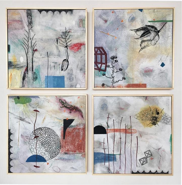 """Slow Spring, acrylic on birch, 25""""x25"""""""
