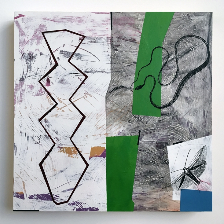 "Sparring Partner, acrylic on birch, 16""x16"""
