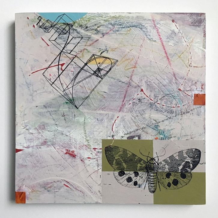 "Escape Plan, acrylic on birch, 12""x12"""