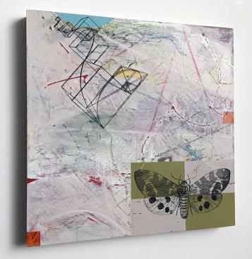"Escape Plan, side view, acrylic on birch, 12""x12"""