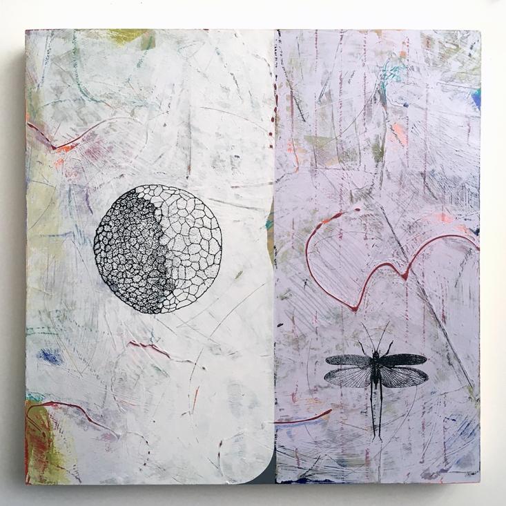 """Fortunate Dichotomy, acrylic on birch, 18""""x18"""""""
