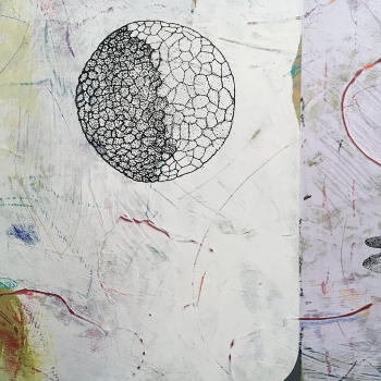"Fortunate Dichotomy, detail, acrylic on birch 18""x18"""