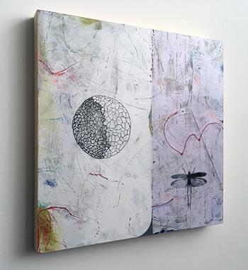 "Fortunate Dichotomy, side view, acrylic on birch, 18""x18"""