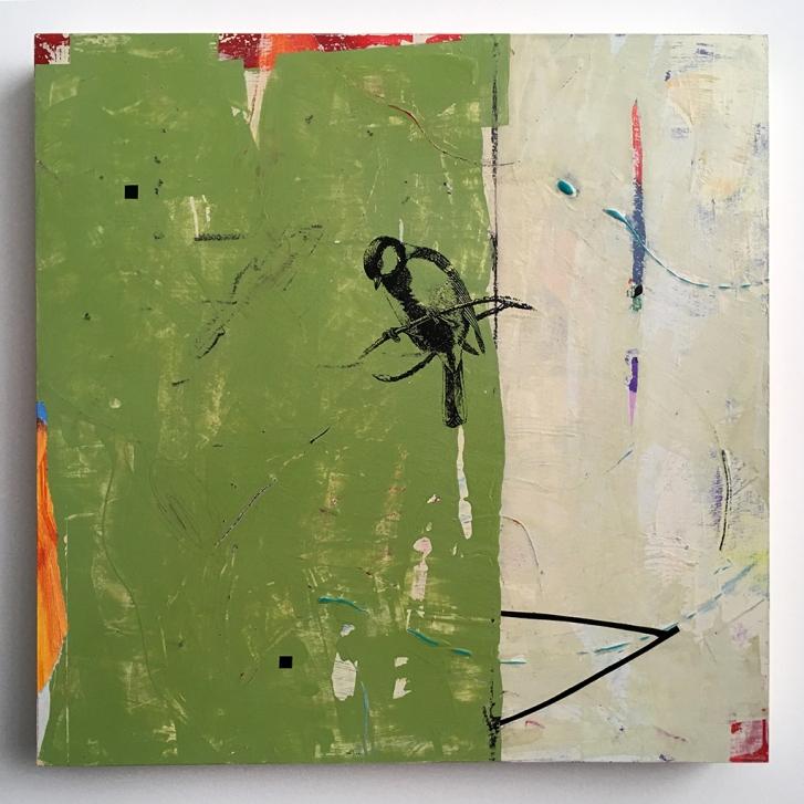 "Little Stranger, acrylic on birch, 16""x16"""