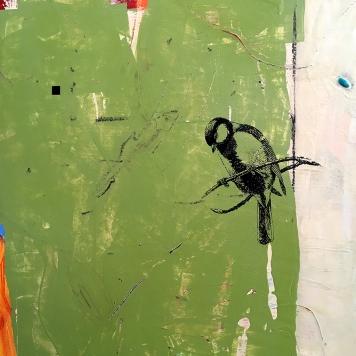 "Little Stranger, detail, acrylic on birch, 16""x16"""