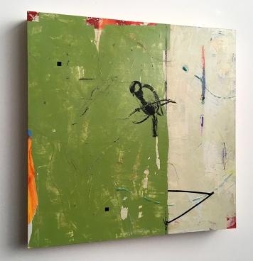 "Little Stranger, side view, acrylic on birch, 16""x16"""