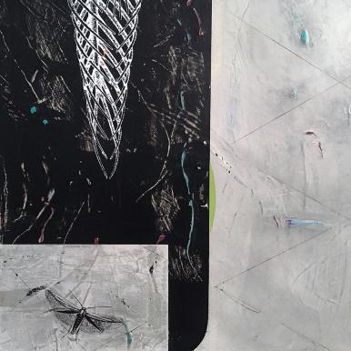"Restless Sleeper, detail, acrylic on birch, 16""x20"""