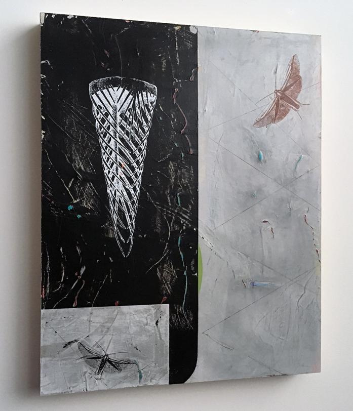 "Restless Sleeper, side view, acrylic on birch, 16""x20"""