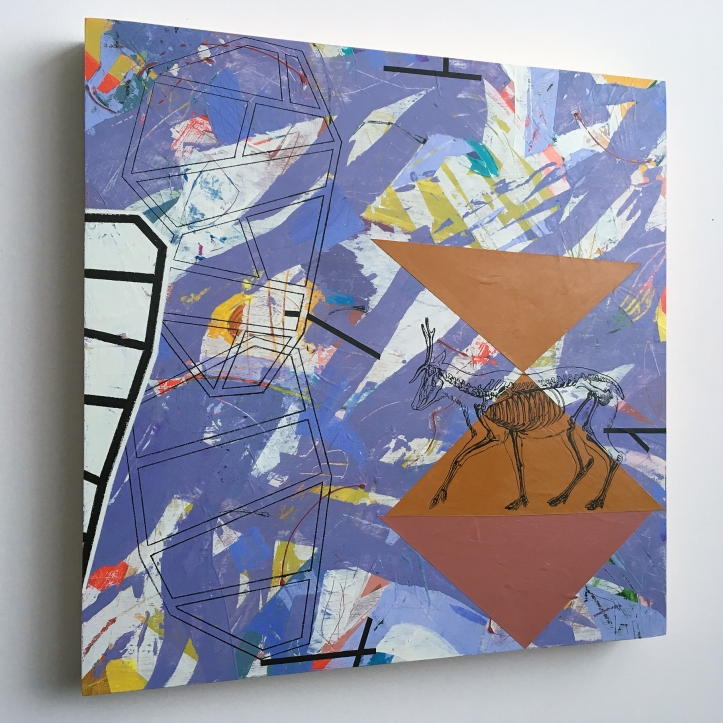 """How to Diagram a Sentence: the Subject (side view), acrylic on birch, 18""""x18"""""""