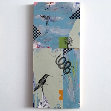 "Duck and Cover, diptych, acrylic on birch 36""x16"""
