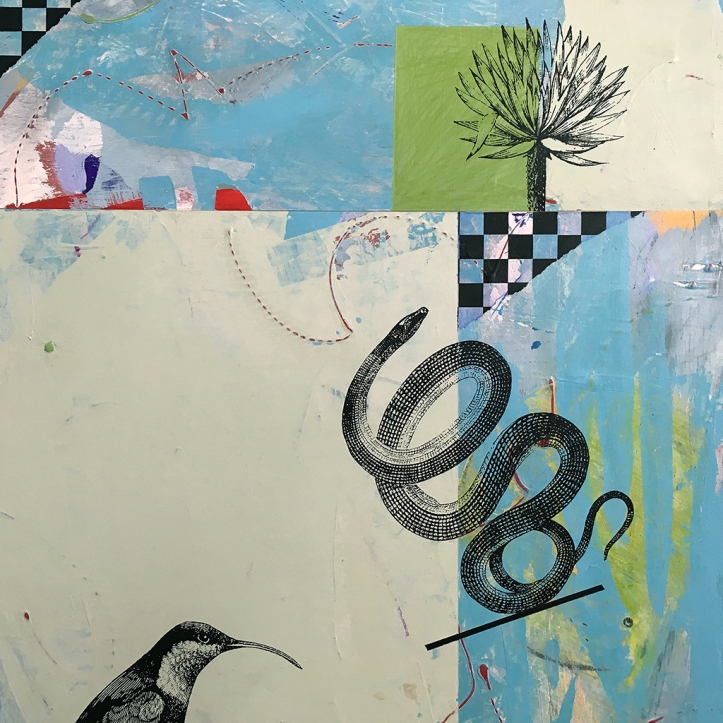 "Duck and Cover, diptych detail, acrylic on birch 36""x16"""