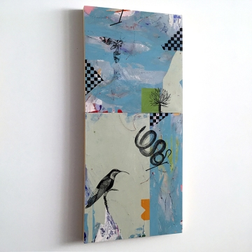 """Duck and Cover, diptych side view, acrylic on birch, 36""""x16"""""""