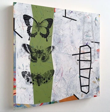 """How to Diagram a Sentence: the Verb, side view, acrylic on birch, 18""""x18"""""""