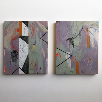 "In Cahoots, diptych, acrylic on birch, 20""x34"""