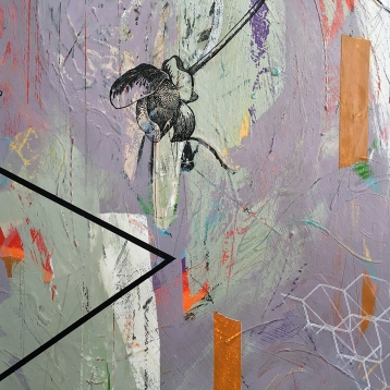 """In Cahoots, diptych, detail right, acrylic on birch, 20""""x34"""""""