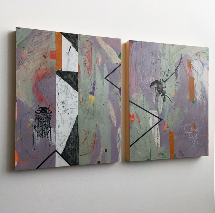 """In Cahoots, diptych, side view, acrylic on birch, 20""""x34"""""""