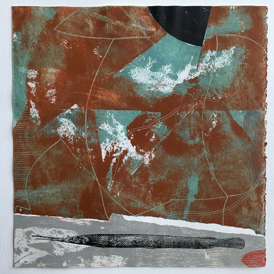 """Little Specimen #1e., clay, ceramic stains, cold wax and acrylic on paper, 12""""x12"""""""