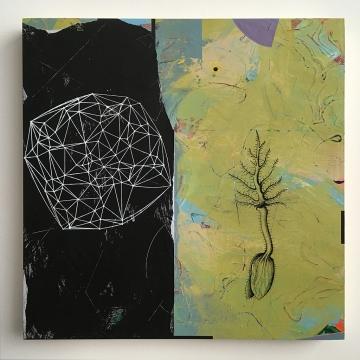 "Planting by Moonlight, acrylic on birch, 18""x18"""