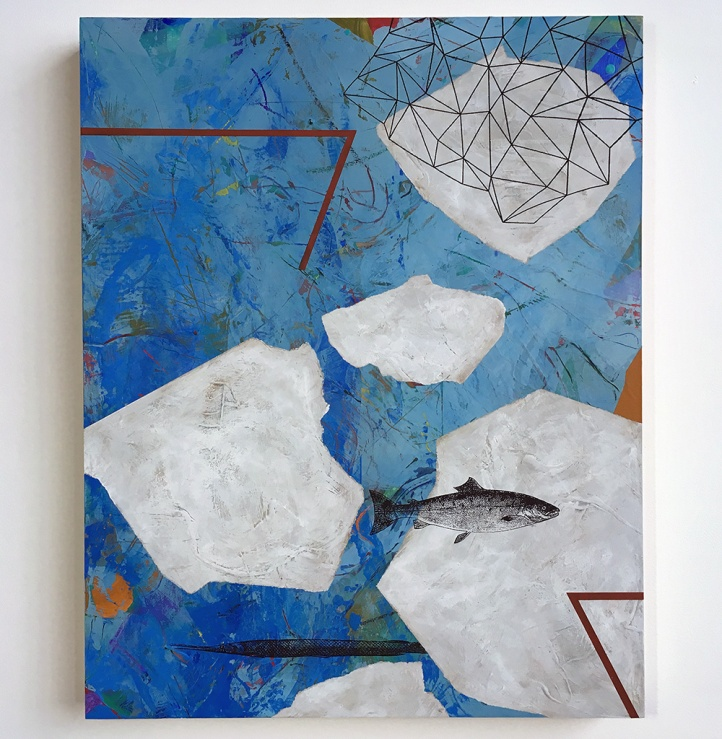"""Floes and Spindrift, acrylic on birch, 20""""x16"""""""