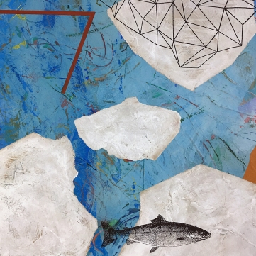 """Floes and Spindrift, detail, acrylic on birch, 20""""x16"""""""