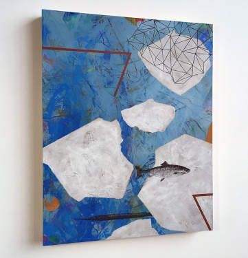 """Floes and Spindrift, side view, acrylic on birch, 20""""x16"""""""