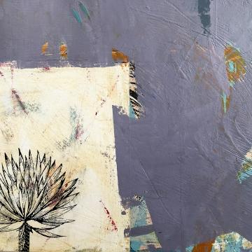 "Surco Garden/Hidden Tortoise, detail, acrylic on birch, 16""x16"""