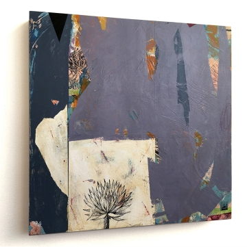 "Surco Garden/Hidden Tortoise, side view, acrylic on birch, 16""x16"""
