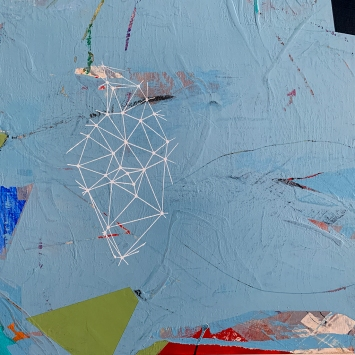 Floating Forward, diptych, detail, acrylic on birch panel, 20x32""