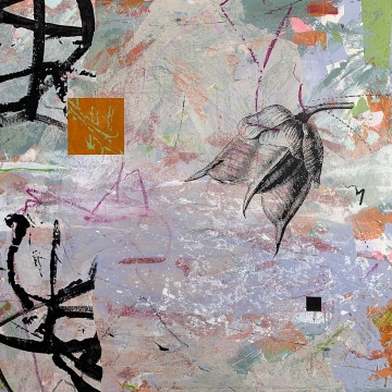 Pollen and Dust, detail, diptych, acrylic and collage on panel, 18x36""