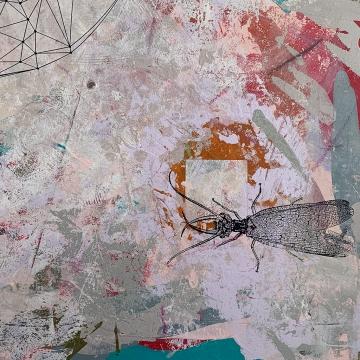 This Could Be the One, detail, acrylic with collage on panel, 36x24""