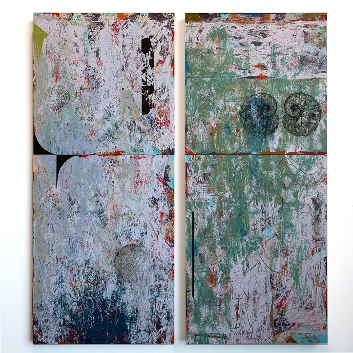 Piney Bog (pair), left: Piney Bog/Last Light; right: Pine Bog/ Noon, each acrylic on panel, 42x18""