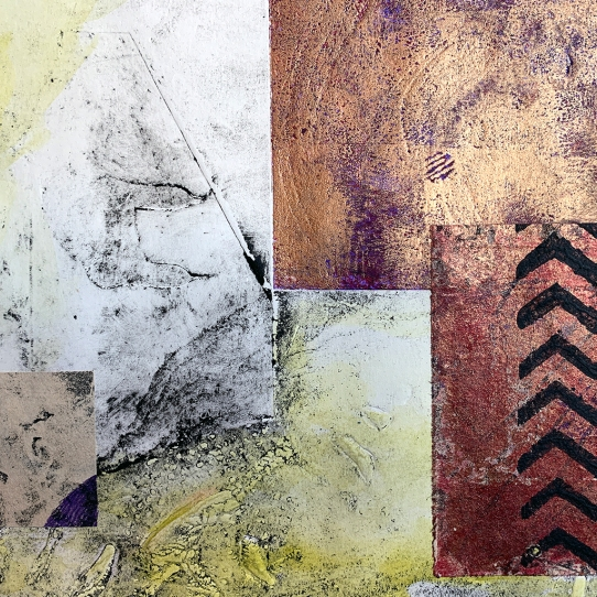 "Notation #20202.A, detail, collagraph monoprint and mixed media on paper 11""x14"" framed"