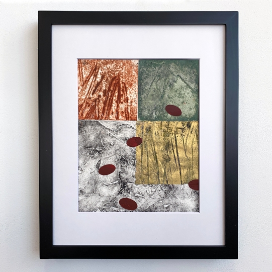 "Notation #20202.C, collagraph and monoprint on paper, 14x11"" framed"