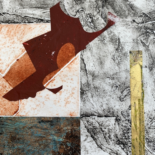 "Notation #20202.D, detail, collagraph and monoprint on paper, 14x11"" framed"