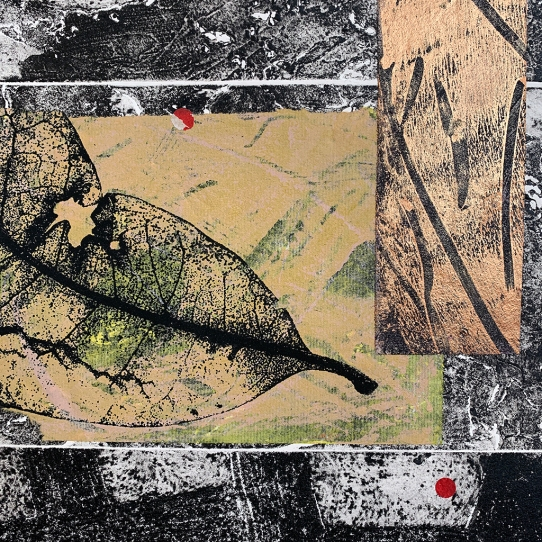 "Notation #20203.F, detail, collagraph, monoprint and screenprint on paper, 20""x16"" framed"