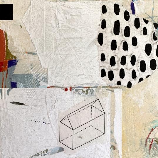"Suburban 2020.1, detail, acrylic and mixed media on panel, 12""x12"""