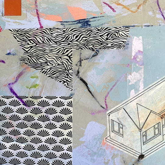 """Suburban 2020.5, detail, acrylic and mixed media on cradled panel, 12""""x12"""""""