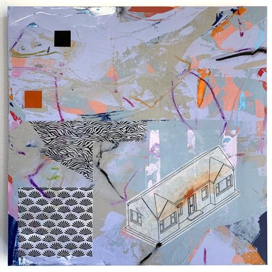 "Suburban 2020.5, acrylic and mixed media on cradled panel, 12""x12"""